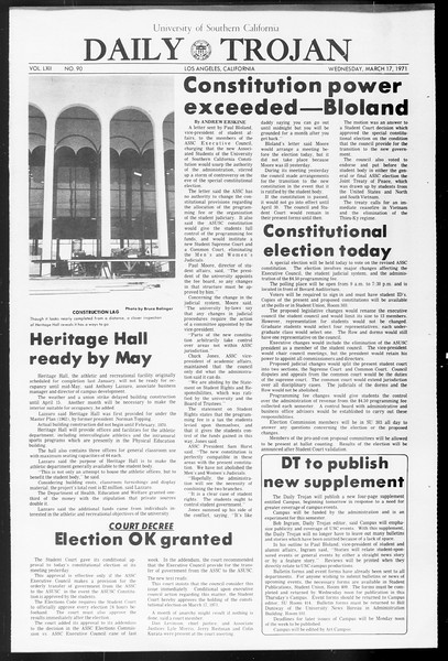 Daily Trojan, Vol. 62, No. 90, March 17, 1971