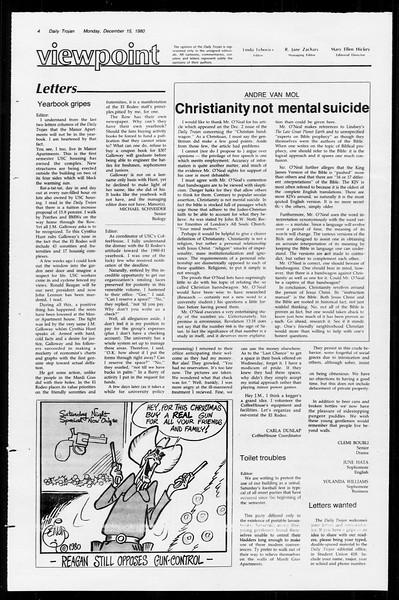 Daily Trojan, Vol. 89, No. 59, December 15, 1980