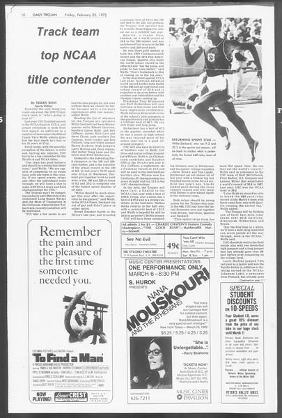 Daily Trojan, Vol. 64, No. 76, February 25, 1972