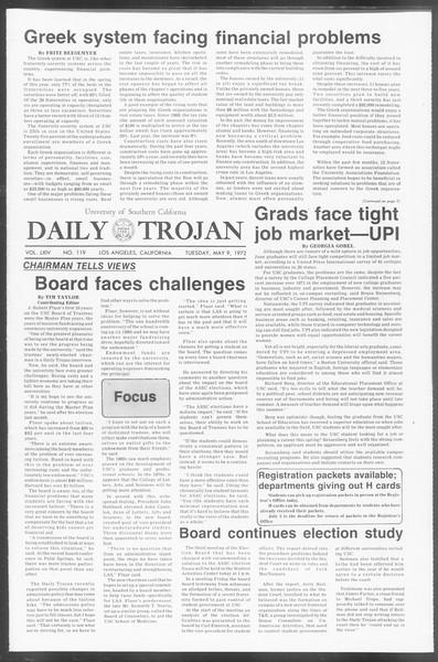Daily Trojan, Vol. 64, No. 119, May 09, 1972