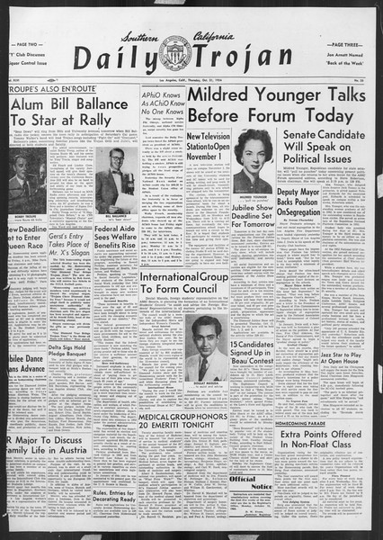 Daily Trojan, Vol. 46, No. 25, October 21, 1954