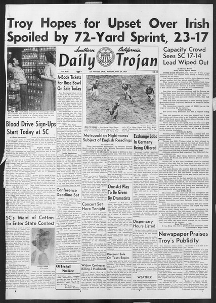 Daily Trojan, Vol. 46, No. 50, November 29, 1954