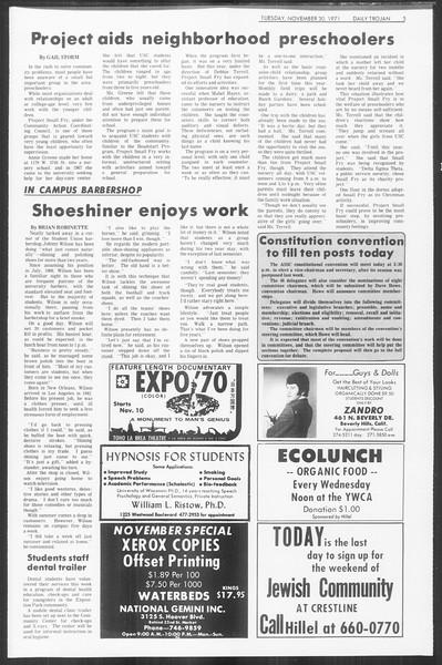 Daily Trojan, Vol. 64, No. 45, November 30, 1971