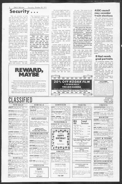 Daily Trojan, Vol. 64, No. 26, October 28, 1971