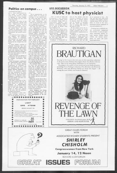 Daily Trojan, Vol. 64, No. 63, January 13, 1972