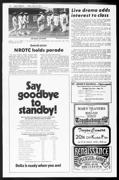 Daily Trojan, Vol. 62, No. 123, May 14, 1971