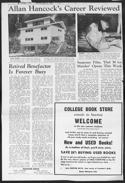 Summer News, Vol. 9, No. 1, June 21, 1954