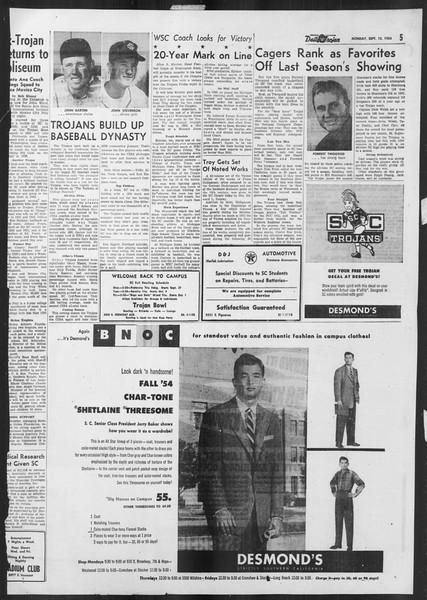 Daily Trojan, Vol. 46, No. 1, September 13, 1954