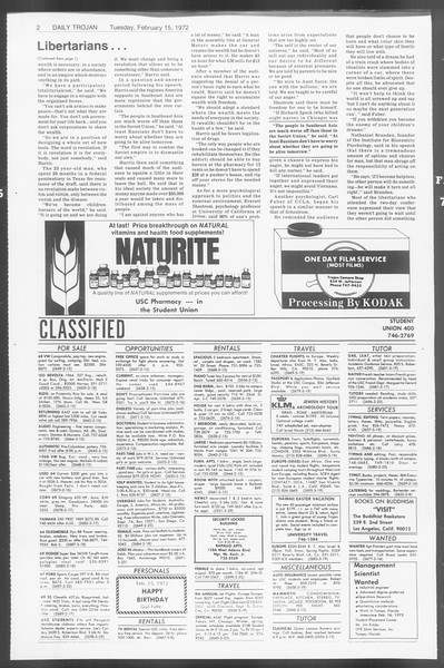 Daily Trojan, Vol. 64, No. 69, February 15, 1972