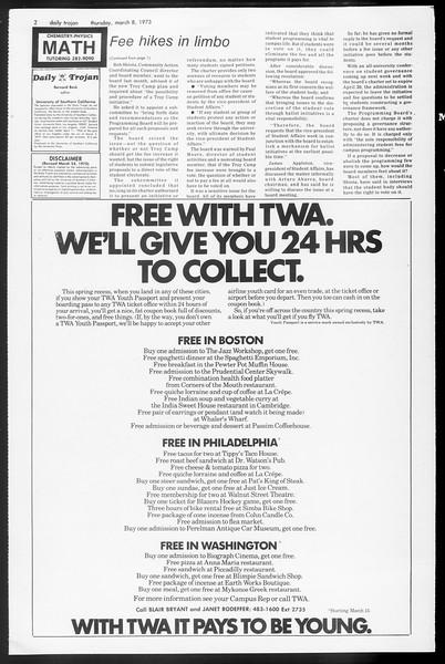 Daily Trojan, Vol. 65, No. 86, March 08, 1973
