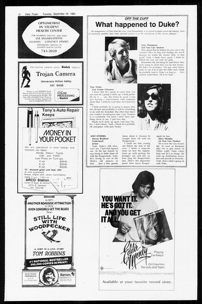 Daily Trojan, Vol. 89, No. 12, September 30, 1980