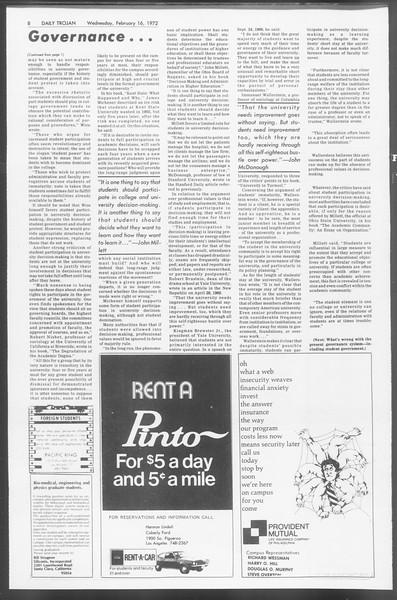 Daily Trojan, Vol. 64, No. 70, February 16, 1972