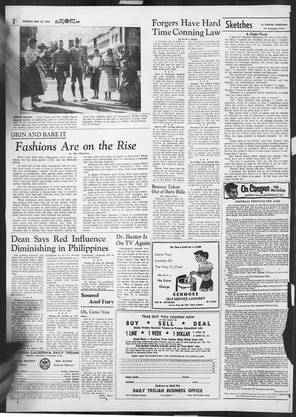Daily Trojan, Vol. 46, No. 7, September 27, 1954