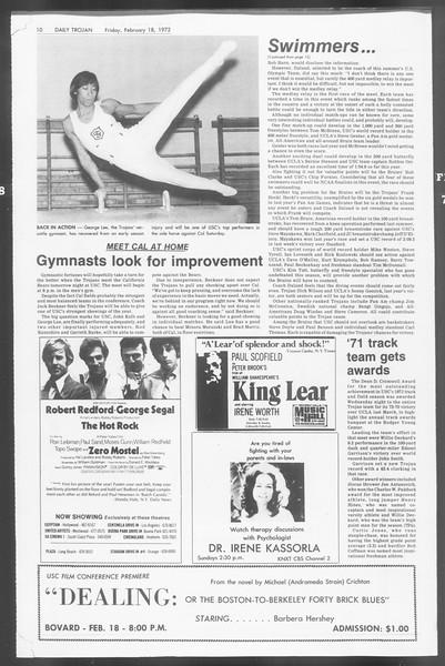 Daily Trojan, Vol. 64, No. 72, February 18, 1972