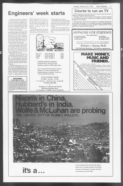 Daily Trojan, Vol. 64, No. 73, February 22, 1972