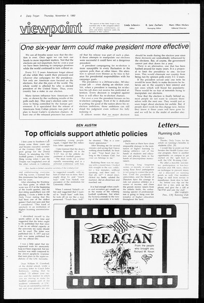Daily Trojan, Vol. 89, No. 37, November 06, 1980