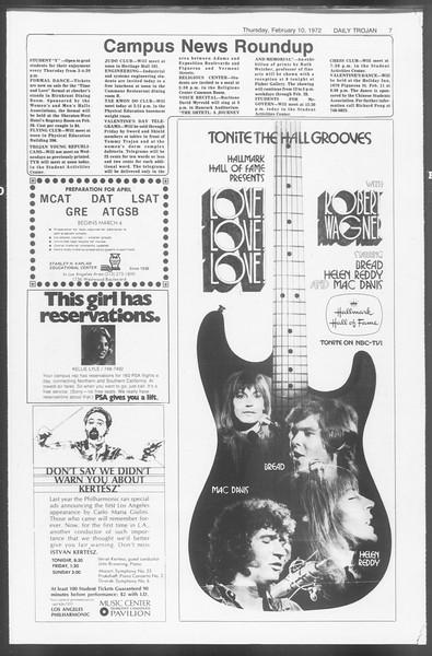 Daily Trojan, Vol. 64, No. 67, February 10, 1972