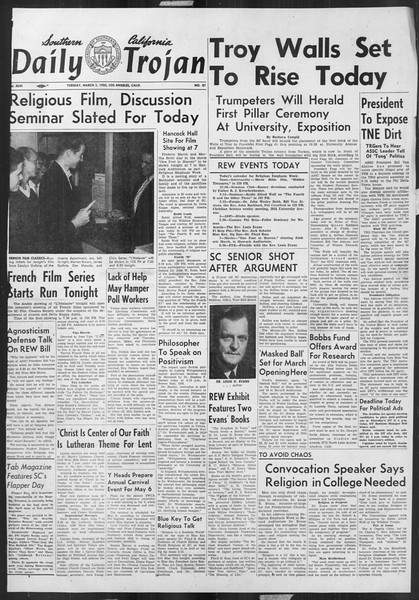 Daily Trojan, Vol. 46, No. 87, March 01, 1955