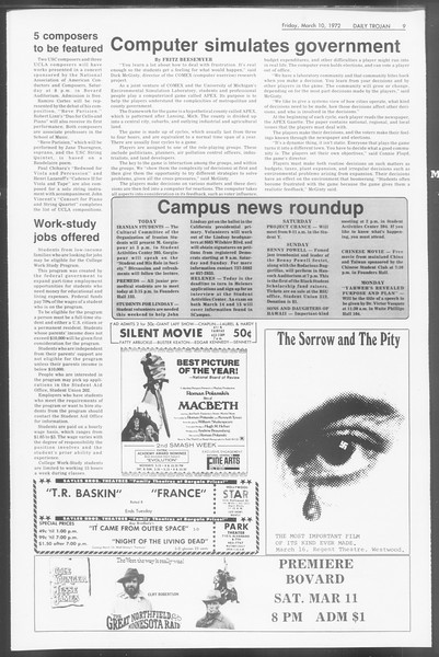 Daily Trojan, Vol. 64, No. 86, March 10, 1972