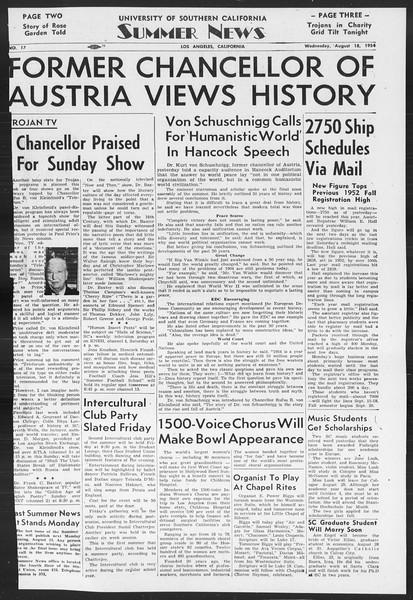 Summer News, Vol. 9, No. 17, August 18, 1954