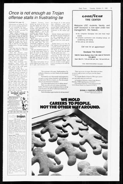 Daily Trojan, Vol. 89, No. 25, October 21, 1980