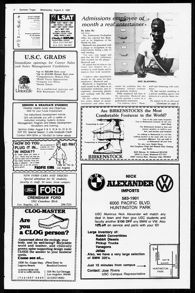Summer Trojan, Vol. 89, No. 14, August 06, 1980