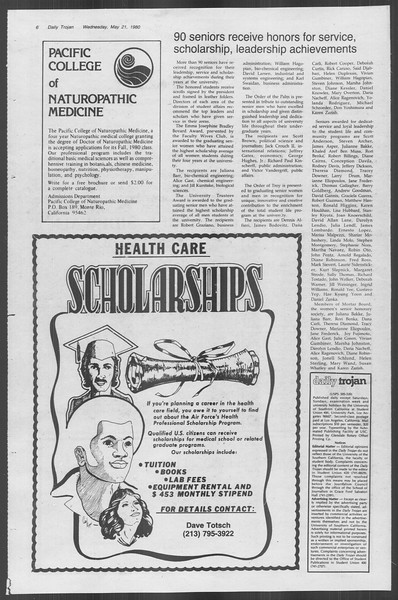 Daily Trojan, Vol. 88, No. 70, May 21, 1980