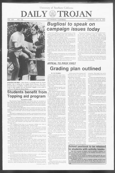 Daily Trojan, Vol. 64, No. 126, May 18, 1972