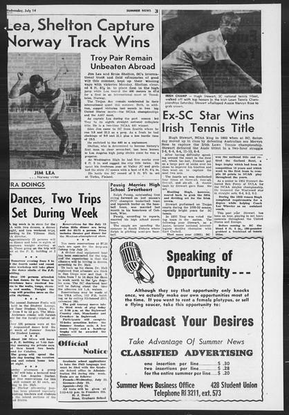 Summer News, Vol. 9, No. 7, July 14, 1954