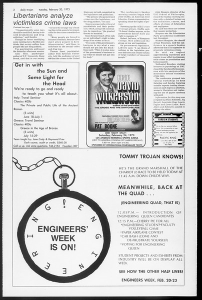 Daily Trojan, Vol. 65, No. 75, February 20, 1973