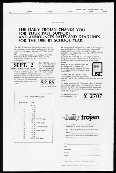 Summer Trojan, Vol. 89, No. 11, July 22, 1980