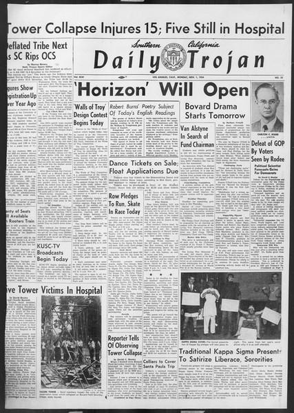 Daily Trojan, Vol. 46, No. 32, November 01, 1954