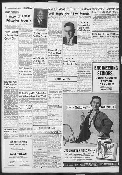 Daily Trojan, Vol. 46, No. 86, February 28, 1955