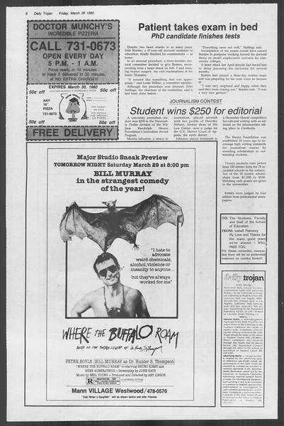 Daily Trojan, Vol. 88, No. 38, March 28, 1980