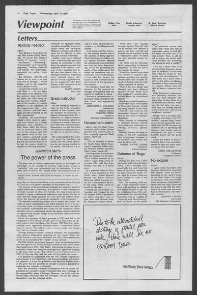 Daily Trojan, Vol. 88, No. 45, April 16, 1980