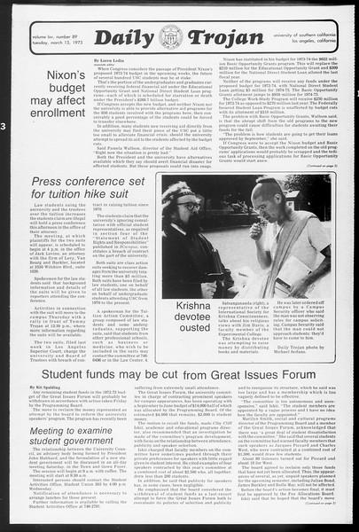 Daily Trojan, Vol. 65, No. 89, March 13, 1973