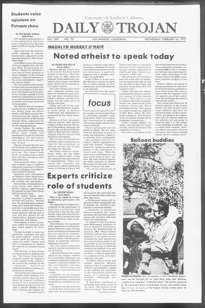 Daily Trojan, Vol. 64, No. 70, February 16, 1972