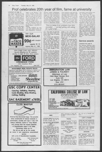 Daily Trojan, Vol. 88, No. 69, May 20, 1980