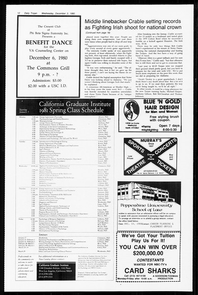 Daily Trojan, Vol. 89, No. 51, December 03, 1980