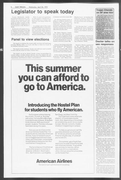 Daily Trojan, Vol. 64, No. 112, April 26, 1972