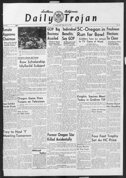 Daily Trojan, Vol. 46, No. 21, October 15, 1954