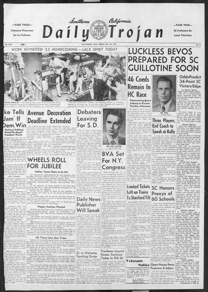 Daily Trojan, Vol. 46, No. 31, October 29, 1954