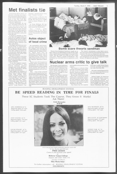 Daily Trojan, Vol. 64, No. 83, March 07, 1972