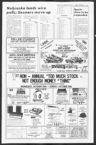 Daily Trojan, Vol. 64, No. 21, October 20, 1971