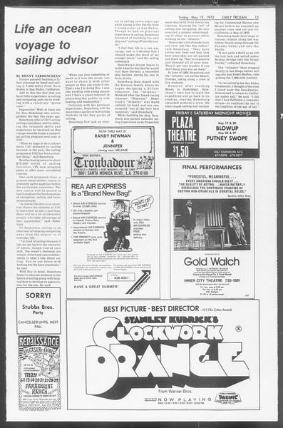 Daily Trojan, Vol. 64, No. 127, May 19, 1972