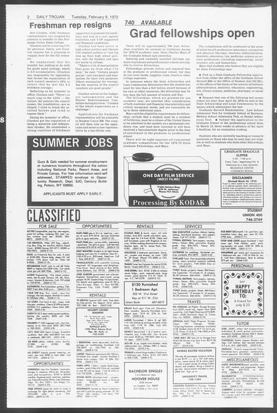 Daily Trojan, Vol. 64, No. 65, February 08, 1972