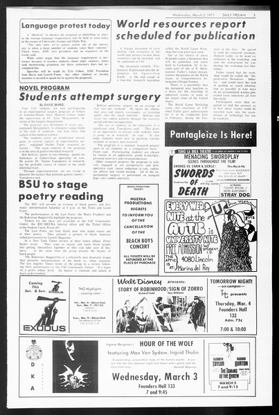 Daily Trojan, Vol. 62, No. 80, March 03, 1971