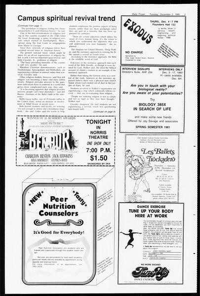 Daily Trojan, Vol. 89, No. 50, December 02, 1980