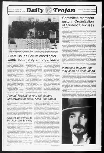 Daily Trojan, Vol. 65, No. 90, March 14, 1973