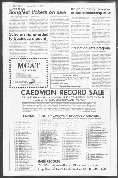 Daily Trojan, Vol. 64, No. 101, April 11, 1972